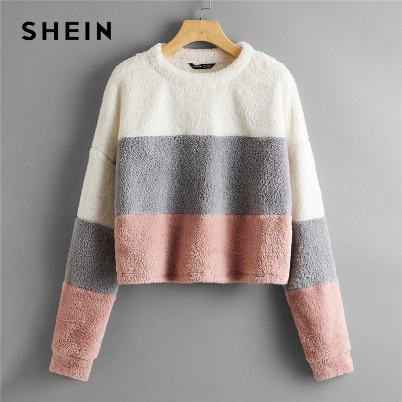 SHEIN Drop Shoulder Colorblock Teddy Pullover Women 2020 Autumn Winter Long Sleeve Round Neck Casual Cute Sweatshirts|Hoodies & Sweatshirts| - AliExpress