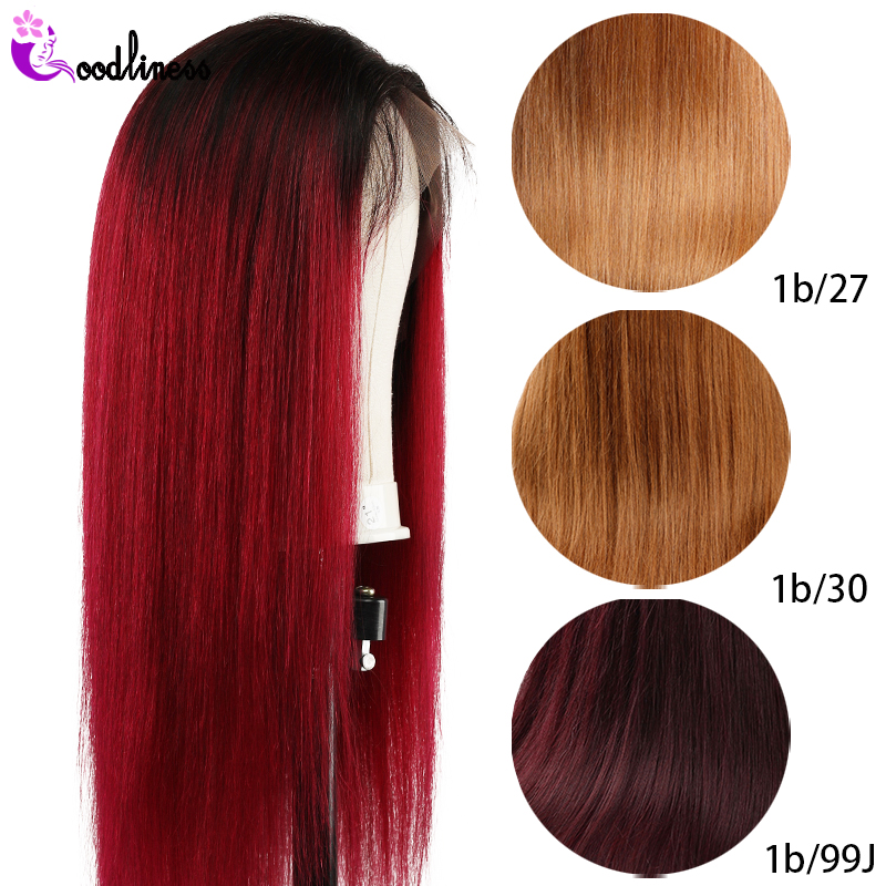 Glueless 13x4 Lace Frontal Wig Pre Plucked With Baby Hair Short Brazilian Straight Human Hair Wigs Ombre Burgundy Wig Remy