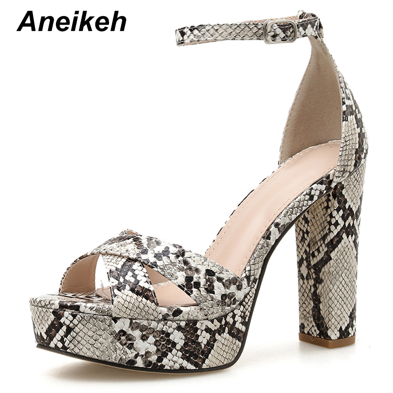 Aneikeh Sexy Serpentine Gladiator Sandals Woman Peep Toe Platforms High Heels Fashion Ankle Strap Pumps Party Nightclub Shoes