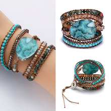 цена на 5-layer Blue Turquoise Indian Agate Natural Stone Crystal Handmade Knot Bracelet for Women Charms Leather Wrap Bracelet Jewelry