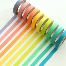 Decorative Washi Tape DIY Rainbow Sticker Masking Paper Set 10 Rolls(China)
