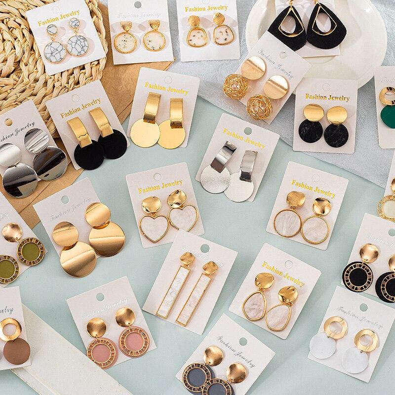 2021 трендовый корейский стиль романтическая Длинные висячие серьги комплект милый Для женщин геометрические серьги ювелирные изделия для п...