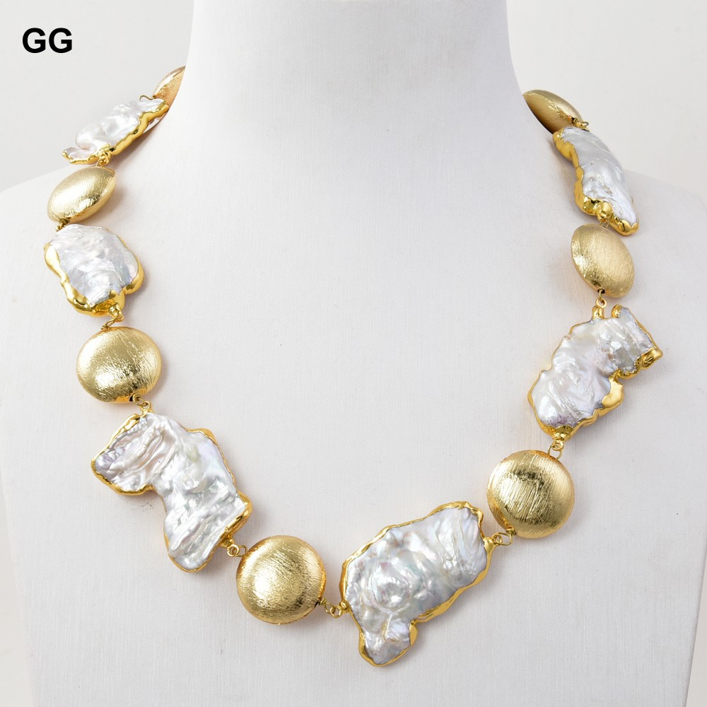 GG Jewelry-collar chapado en oro para mujer, Perla Keshi de agua dulce de 19 pulgadas