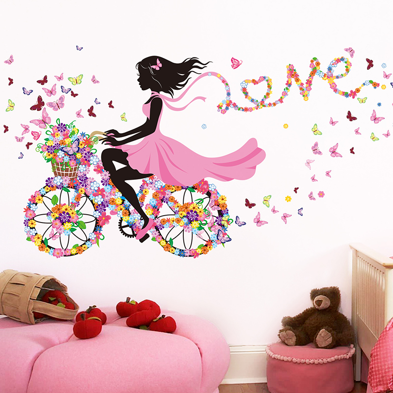 [SHIJUEHEZI] Cartoon Fairy Girl Wall Stickers Vinyl DIY Butterflies Bicycle Mural Decals For Kids Rooms Baby Bedroom Decoration