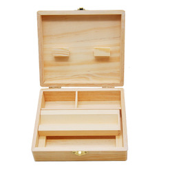 Caixa de armazenamento de madeira 170 MILÍMETROS de comprimento com bandeja de cigarros de tabaco de madeira feitos à mão e acessórios para tubos com ervas naturais caixa de armazenamento