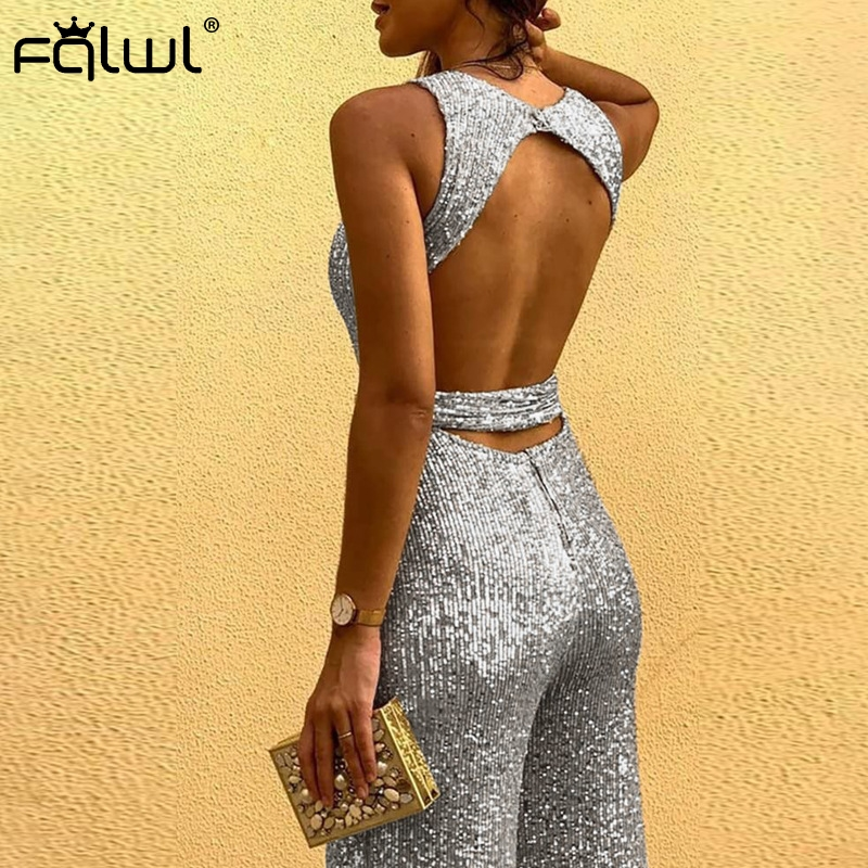 FQLWL Glitter Backless Ladies Long Wide Leg Bodycon Jumpsuit Women Overall Sashes Black Pink Sexy Rompers Womens Jumpsuit Female