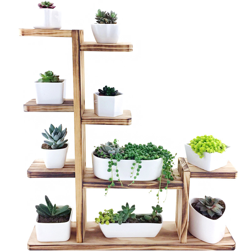 Airs Room Introspection Space Balcony Multi-storey Solid Wood  Small Flower Rack Northern Europe Botany Frame