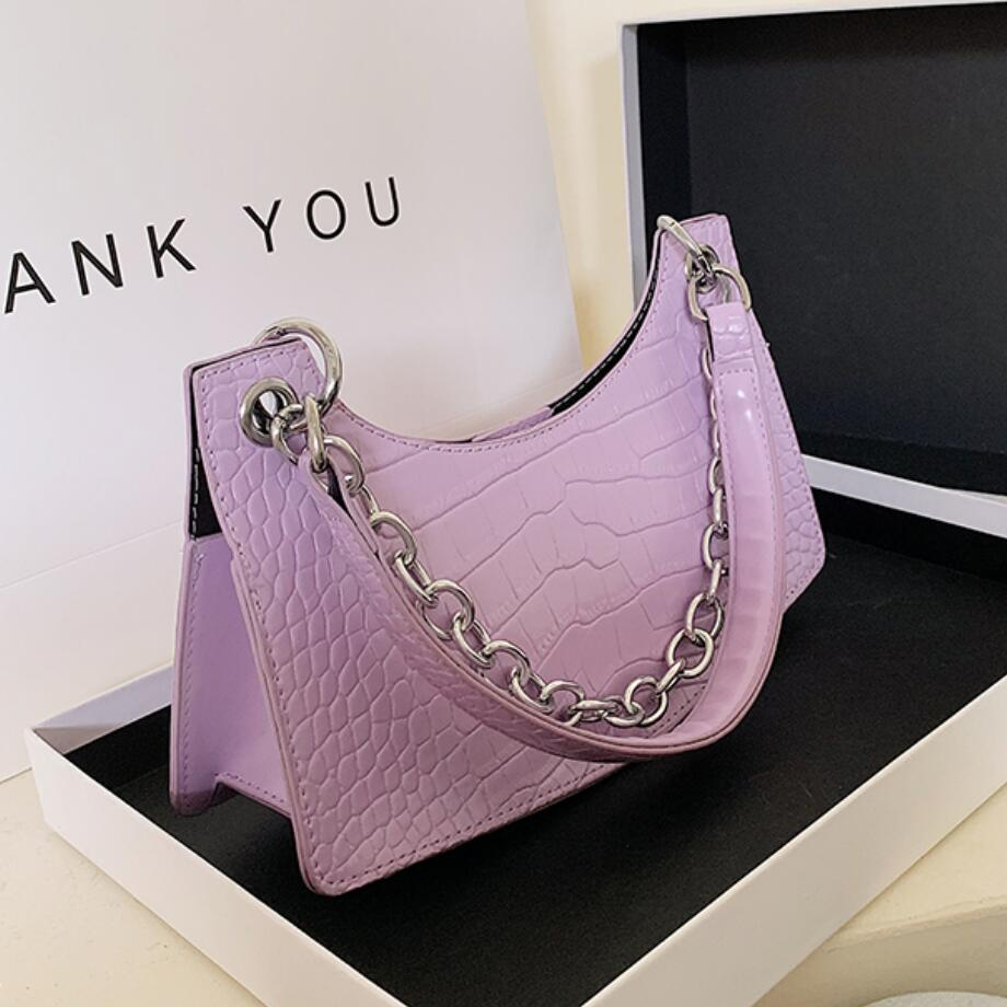 Crocodile Pattern Chain Tote Bag 2020 Fashion New High-quality Leather Women's Designer Handbag Travel Shoulder Bag Armpit Bag
