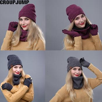 Moda czapka zimowa szalik rękawiczki dla kobiet mężczyzn gruba bawełniana czapka damska i zestaw szalików kapelusz i szalik dla kobiet zestaw 3 sztuk tanie i dobre opinie GROUPJUMP WOMEN COTTON Dla dorosłych Szalik Kapelusz i rękawiczki zestawy 1251380 S8R0400034 200g List Zhejiang China