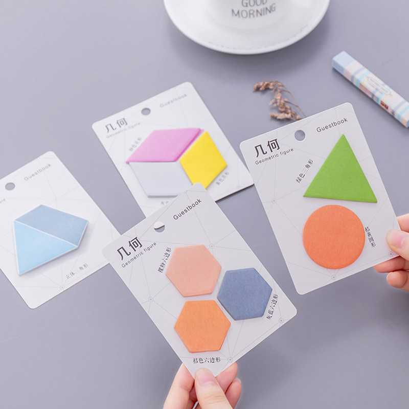 Bentuk Geometris Warna Pesan Catatan Sticky Notes Post Memo Pad Korea Stationery Sekolah Planner Stiker