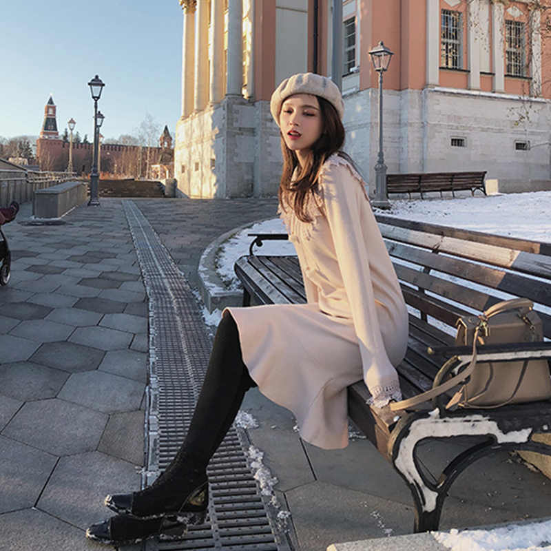 MISHOW 秋冬いとう女性のドレス 2019 気質フリルスリムフィットレーストランペットドレス MX18D5910