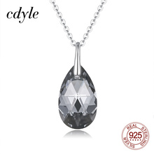 Cdyle 925 Sterling Silver Necklace Dainty Waterdrop Shape Teardrop Pendant Necklace with Black Cryst
