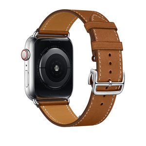 Image 3 - 革シングルツアー展開バックルappleの腕時計6 5 4 3 2バンド44ミリメートル40ミリメートル時計バンドハーム島のロゴiwatch accessoreis