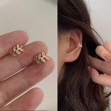 Nowe mody złoty klips z liściem kolczyk dla kobiet bez Piercing Puck Rock Vintage kryształowa nausznica dziewczyny biżuteria prezenty 1P