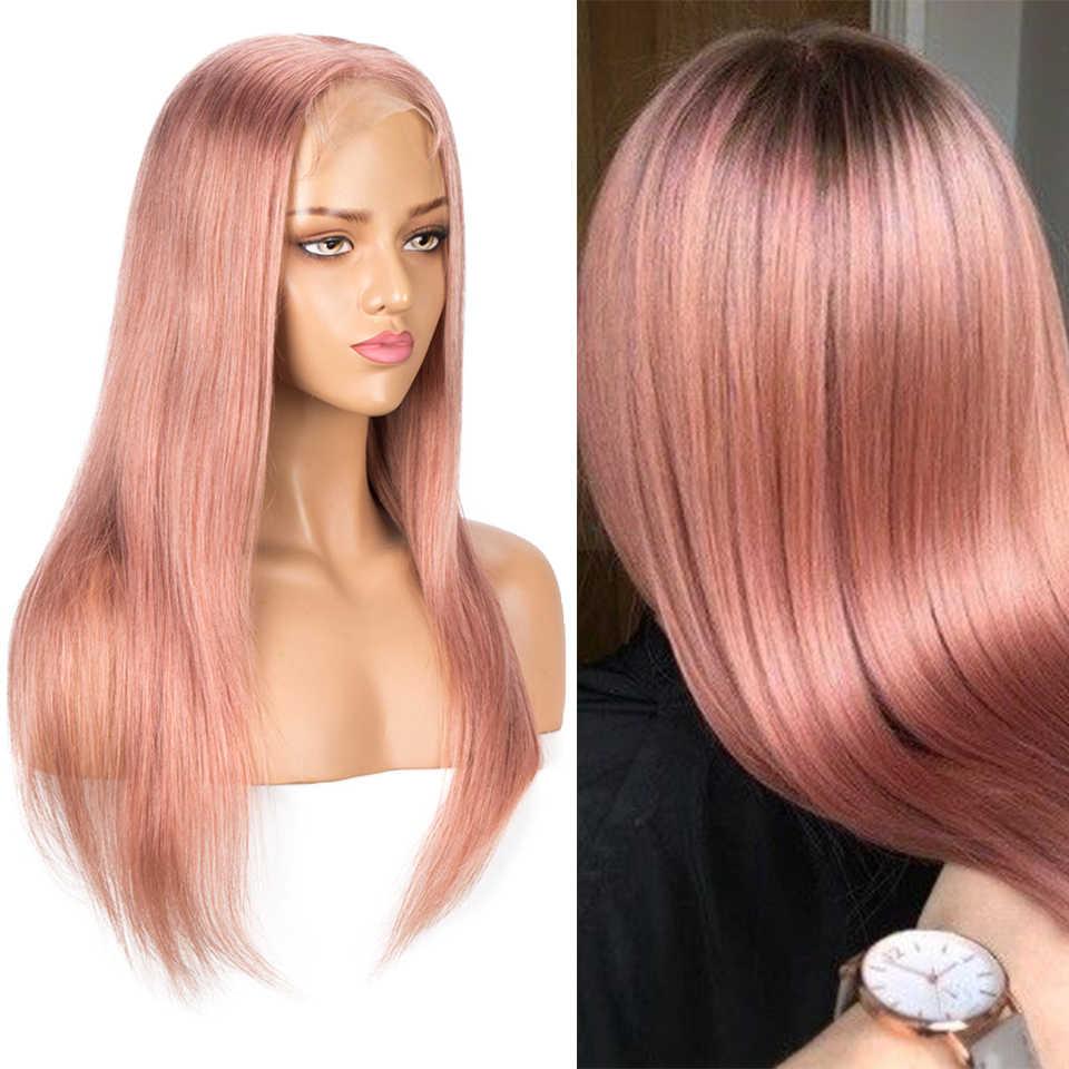 Elegante 4x4 perucas de fechamento de renda rosa loira brasileira em linha reta bob perucas de cabelo humano 10-22 Polegada perucas preplucked curto do laço para a mulher