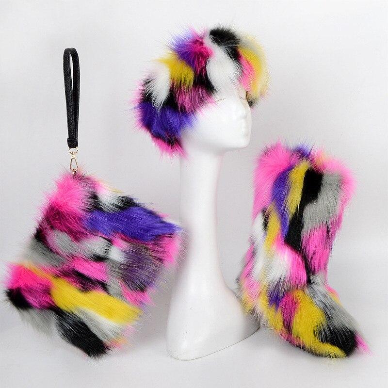 Women's Winter Faux Fox Fur High Snow Boots Shoes Ladies Fluff Yrainbow Striped Plush Headband Female High Boots Warm Clutch Set