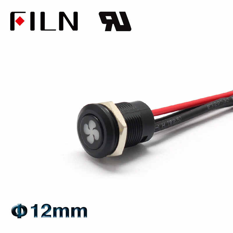 FLIN 12mm 12v bateau de voiture de course iP65 étanche en plastique bouton momentané verrouillage bouton poussoir avec symbole de tableau de bord