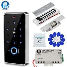 Sistema de Control de Acceso de puerta a prueba de agua IP68, teclado biométrico RFID + fuente de alimentación + 180KG, cerraduras eléctricas de ataque magnético para el hogar