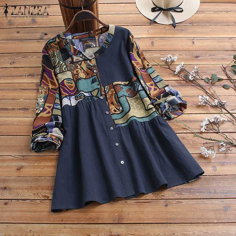 Women Cotton Linen Blouse Spring Vintage Floral Printed Top ZANZEA Casual Long Sleeve Buttons Down Blusas Loose Robe Shirt Mujer