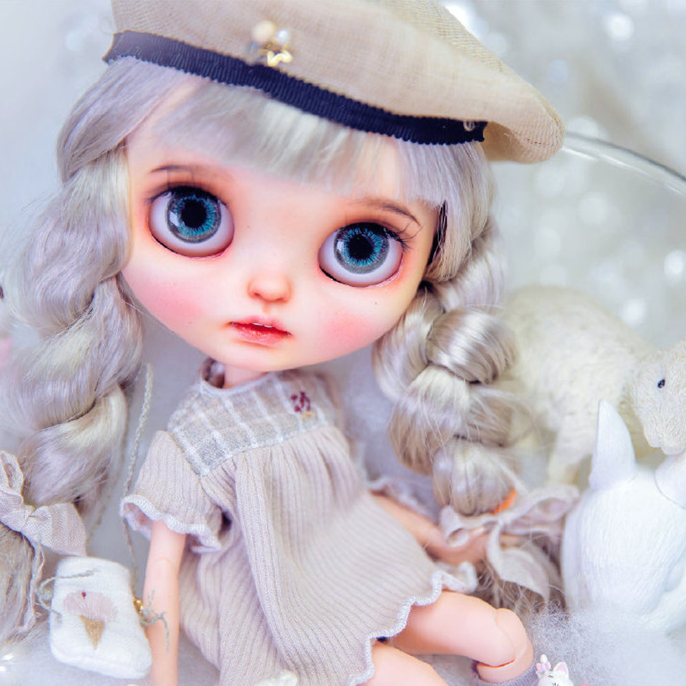 ICY Blyth Doll NBL 1/6 BJD Customized Frosted Face,white Hair Fashion Girl Makeup Ball Jointed Doll Beautiful Blyth