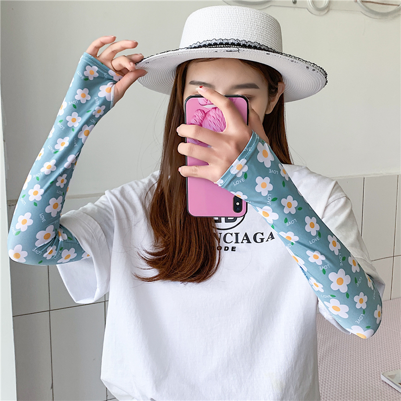Floral Print Lady Sleeves For Arm Warmers Summer Sun Protection Women Out Sports Gloves Cool Ice Silk Anti-UV Sleeve Wrap