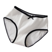 New Thread Cotton Panties Ladies Mid Waist Briefs Breathable Simple Solid Color Bow Girl