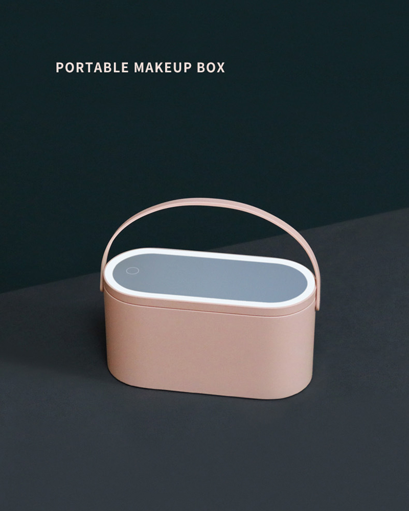 Espelho de maquiagem led caixa de armazenamento