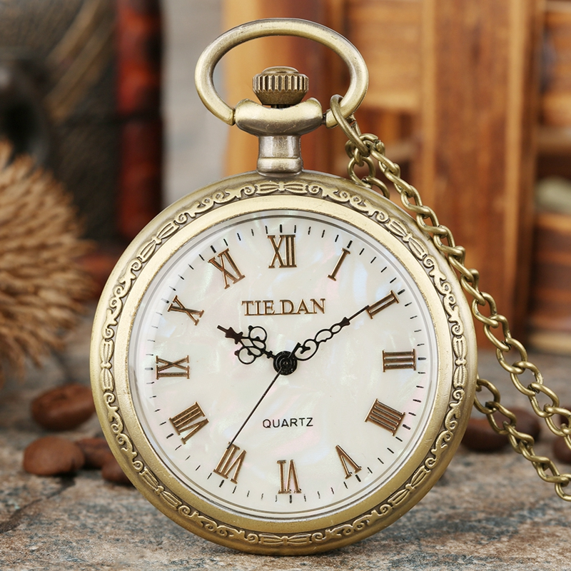 Luxury Durable Alloy Case Quartz Watch Normal Shell Dial With Roman Numerals Pocket Watches Chain Pendant Watches For Men Women