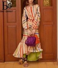 Baogarret Womens Summer Runway High End Skirt Suit  lantern Sleeve Colorful Stripe Print Blouse + Mermaid Suits