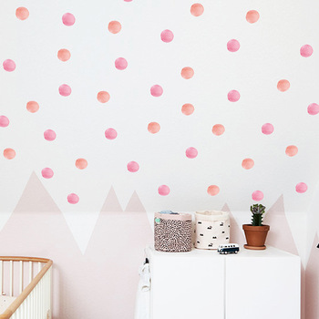 12pcs/set Pink dots wall stickers bedroom kids room decoration mural home decor art decals removable nursery wallpaper - discount item  23% OFF Home Decor