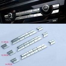 Ar condicionado do carro vento ajustar botão interruptor de volume de ar substituir guarnição capa adesivo para bmw 5 6 7 x3 x4 x5 x6 series