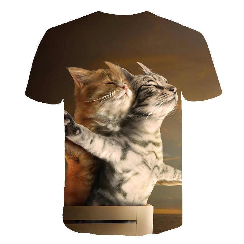 2019 新クール Tシャツ男性/女性 3d tシャツプリント 2 猫半袖夏トップスティーおかしい T シャツ男性 S-6XL