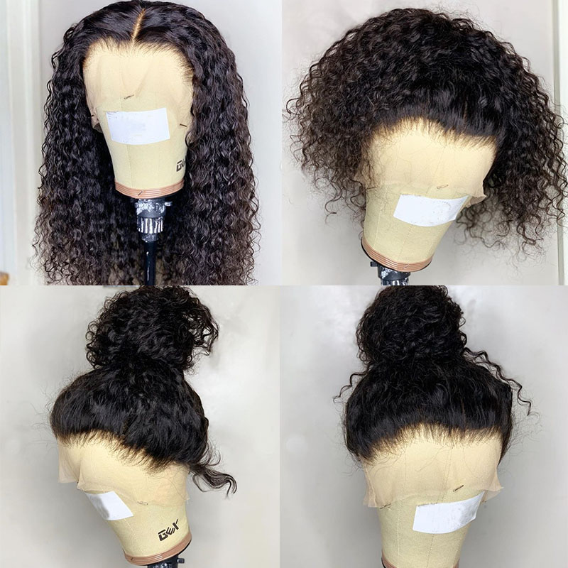 Curly Glueless Full Lace Human Hair Wigs With Baby Hair Transparent 250 Density Lace Wig Pre Plucked Braid Bob Fake Scalp Dolago