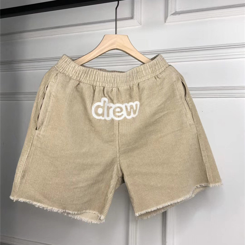Justin Bieber Drew House Corduroy Shorts Drawstring Elastic Waist Style Men Women 1:1 Shorts High Quality Casual Drew Short