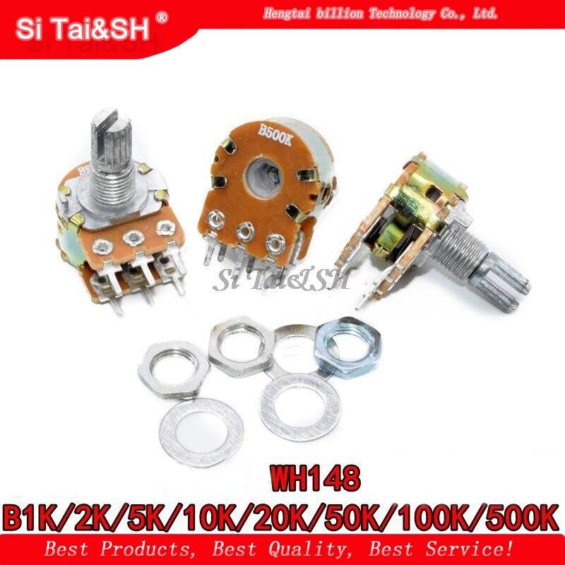 5pcs B1K B2K B5K B10K B20K B50K B100K B500K B1M 6Pin 15mm Shaft WH148 Potentiometer 1K 2K 5K 10K 20K 50K 100K 500K 1M