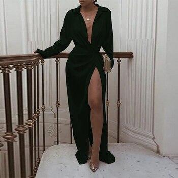 VeryYu Split Side Long Sleeve V-Neck Dress Dresses Fashion  VerYYu