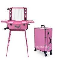Marco de aluminio profesional Rolling Studio Makeup Artist Cosmetic Case Beauty Trolley valija LED espejo de luz caja Rosa equipaje