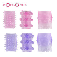 Penis Rings Reusable Condoms Delay Ring Male Penis Extension Sleeves Cock Rings Adult Sex Toys for Men Sleeve Delay Condom Dildo