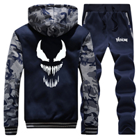 Venom Mens Camouflage Jacket+Pants 2 piece Sets Winter Man Sweatshirts Warm Suit Fashion Brand Tracksuit Men Hoodies Trousers