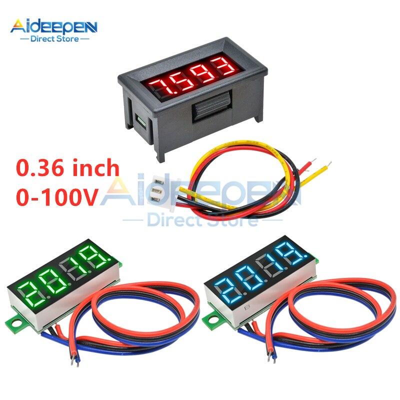 0.36 Inch DC 0-100V Mini 3 Wires 4 Bit LED Digital Voltmeter 0.36