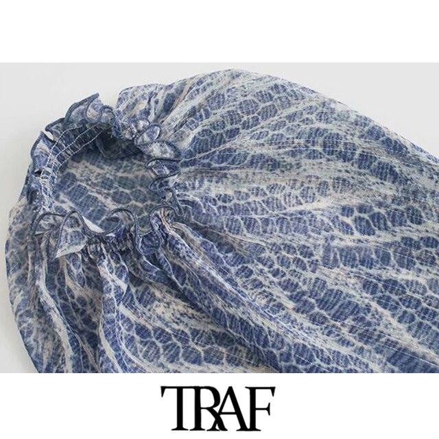 TRAF Women Chic Fashion Animal Print Asymmetric Draped Mini Dress Vintage Long Sleeve Ruffled Female Dresses Mujer 4