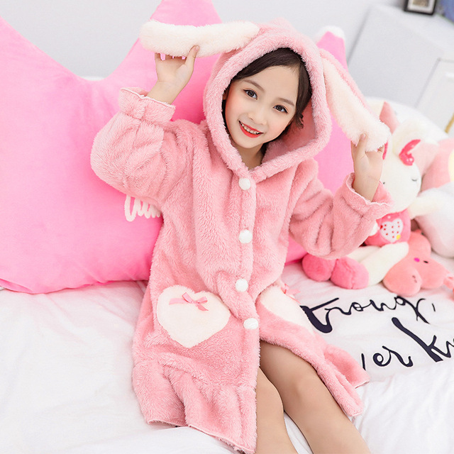 Kids Girl Robe 2020 Bathrobe Hooded for Girl Pyjamas Nightgown Double-sided Soft Flannel Pyjamas Children Warm Clothes 3-12Years 2