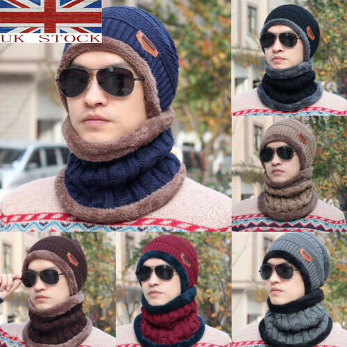 Men Women Beanie Hat + Gloves + Scarf Neck Warmer Winter Thermal Ski Caps Set