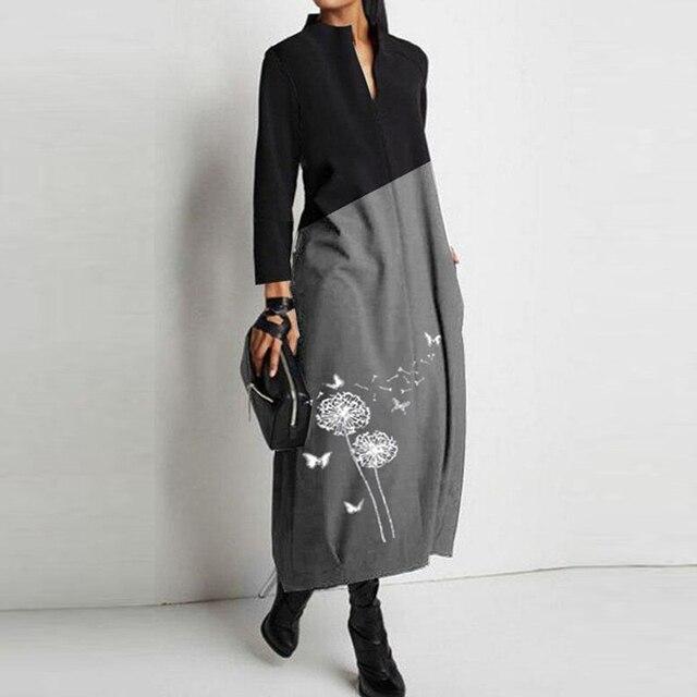Casual V Neck Patchwork Women Long Dress Elegant Dandelion Print Long Sleeve Dress Fashion Loose A-Line Party Dress Vestidos 3XL 4