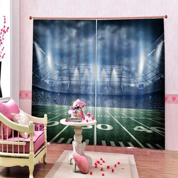 Stadium Rugby Baseball Summer Background 3D Window Curtains for Living Room Bedroom Kitchen Blackout Curtinas