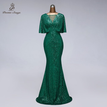 Sexy sequin Evening dress short sleeves vestidos de fiesta green dress evening gowns for women Party dress prom dresses
