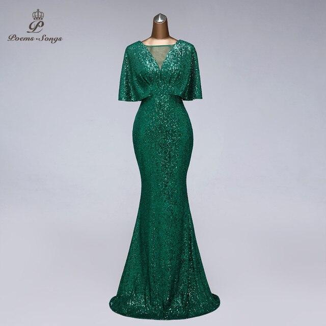 Sexy sequin Evening dress short sleeves vestidos de fiesta green dress evening gowns for women Party dress prom dresses