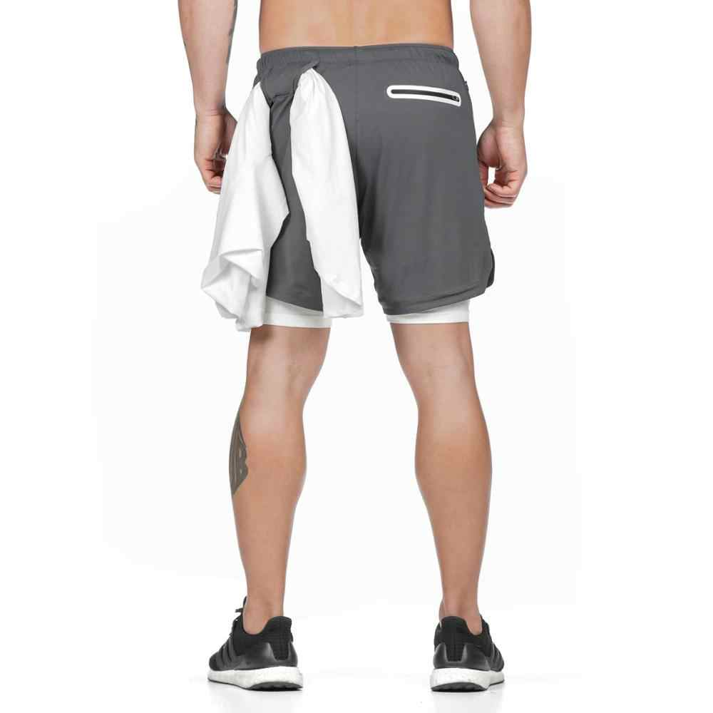 Men/'s 2-in-1 Workout Shorts Gym Running Fitness Short Pants with Zipper Pockets
