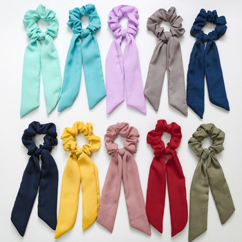 New Solid Stripe Ribbon Hair Scrunchies Women Elastic Hair Bands Scarf Hair Ties Rope Ponytail Holder Girls Hair Accessories 20 pcs lot solid velvet hair scrunchies elastic hair ties bands women girls headwear ponytail holder korean hair accessories