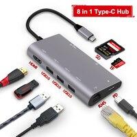 8 in1 USB C HUB USB C HUB Type c to Multi USB 3.0 HDMI 4k RJ45 Power Adapter Type C HUB HAB Splitter For Macbook Pro Air